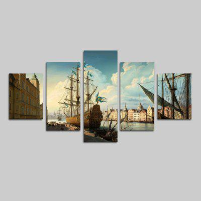 God Painting 1852 Beautiful River Scenery Print 5PCS