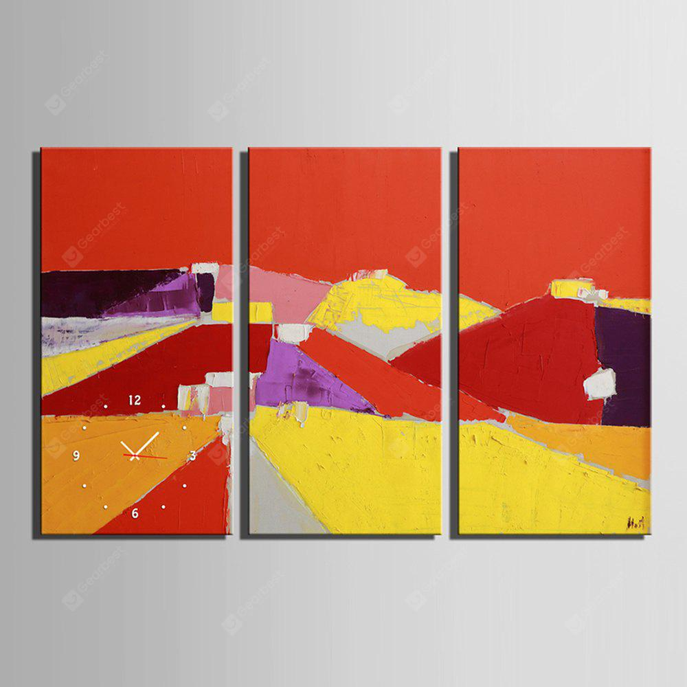 E - HOME Abstract Pictures Canvas Wall Clock 3PCS