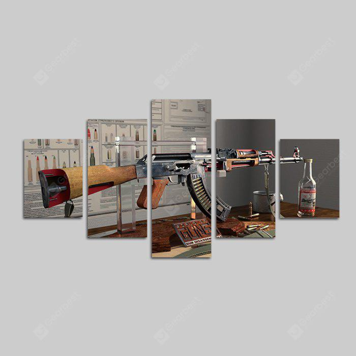 God Painting Cool Gun Print Frameless Canvas Wall Decor 5PCS