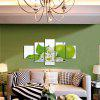 God Painting Green Apple Print Canvas Wall Decor 5PCS - GREEN AND WHITE