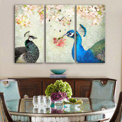 E - HOME Creative Wall Clock Canvas Peacock Painting 3PCS