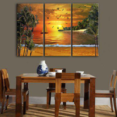 E - HOME Creative Wall Clock Canvas Seascape Painting 3PCS