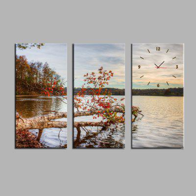 E - HOME Lake View Canvas Decor Mural Wall Clock 3PCS