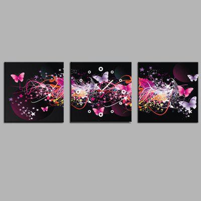 E - HOME Colorful Butterflies Canvas Mural Wall Clock 3PCS