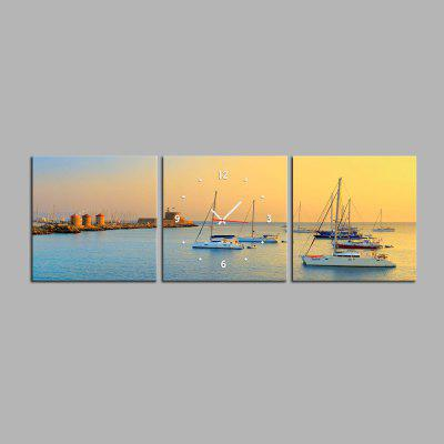 E - HOME Beautiful Seascape Canvas Mural Wall Clock 3PCS