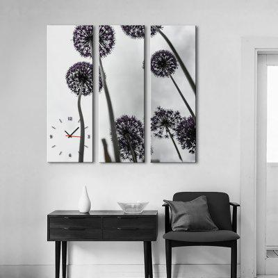 E - HOME Creative Wall Clock Dandelion Painting 3PCS