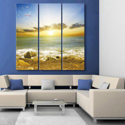 E - HOME Creative Wall Clock Canvas Beach Painting 3PCS