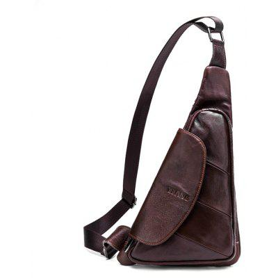 YUANFANVIP Men Trendy Genuine Leather Chest Bag