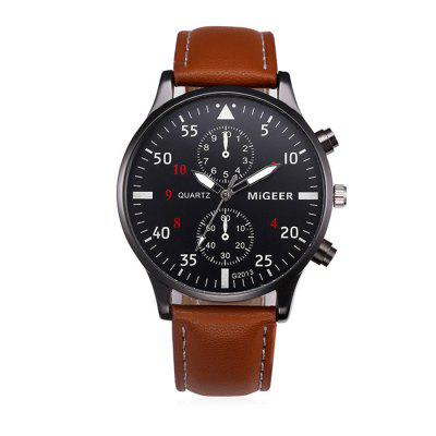MIGEER 2013 Trendy Leather Band Men Quartz WatchMens Watches<br>MIGEER 2013 Trendy Leather Band Men Quartz Watch<br><br>Band material: Leather<br>Band size: 22 x 2cm<br>Brand: Migeer<br>Case material: Alloy<br>Clasp type: Pin buckle<br>Dial size: 3.9 x 3.9 x 0.8cm<br>Display type: Analog<br>Movement type: Quartz watch<br>Package Contents: 1 x Watch<br>Package size (L x W x H): 24.00 x 5.90 x 2.80 cm / 9.45 x 2.32 x 1.1 inches<br>Package weight: 0.0650 kg<br>Product size (L x W x H): 22.00 x 3.90 x 0.80 cm / 8.66 x 1.54 x 0.31 inches<br>Product weight: 0.0450 kg<br>Shape of the dial: Round<br>Watch mirror: Mineral glass<br>Watch style: Fashion<br>Watches categories: Men