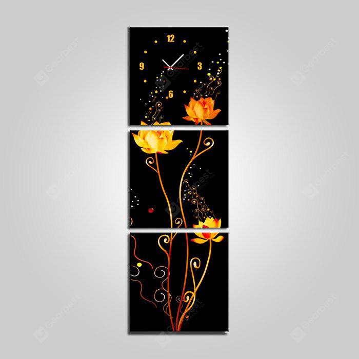 E - HOME Framed Pretty Flowers Canvas Mural Wall Clock 3PCS