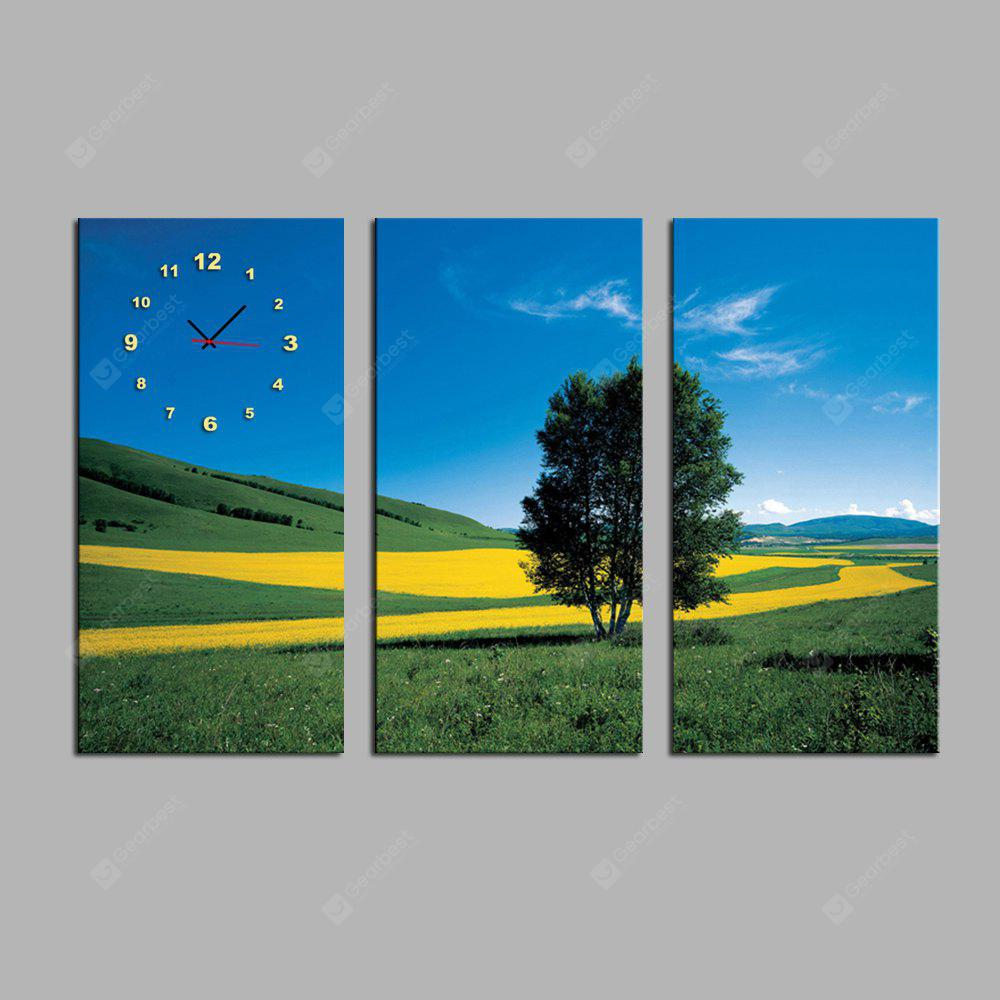 E - HOME Hillside Scenery Canvas Decor Mural Wall Clock 3PCS