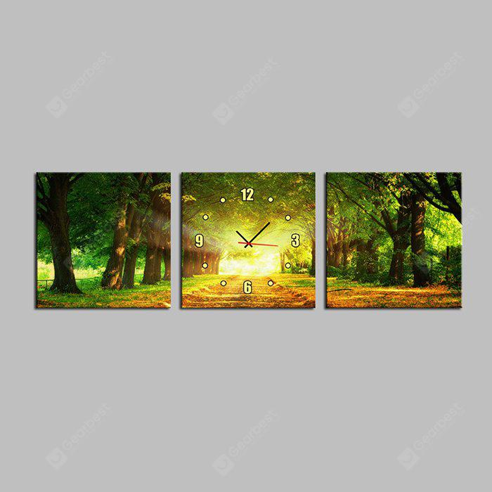 E - HOME Boulevard Canvas Decor Mural Wall Clock 3PCS