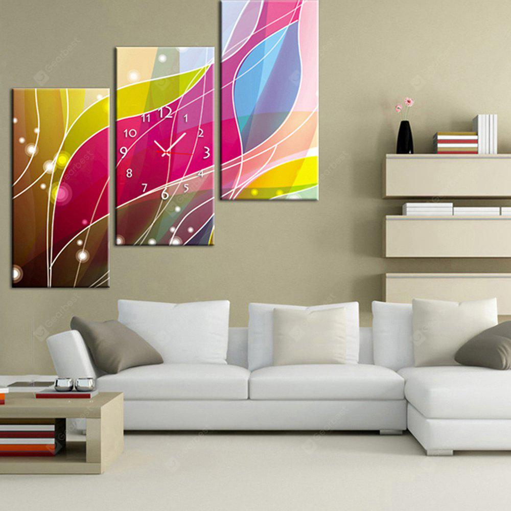 E - HOME Creative Wall Clock Canvas Abstract Painting 3PCS