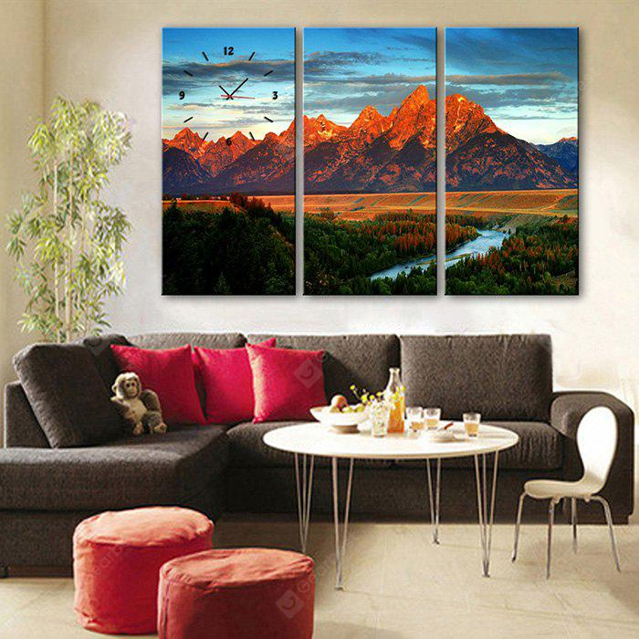 E - HOME Creative Wall Clock Canvas Forest Painting 3PCS