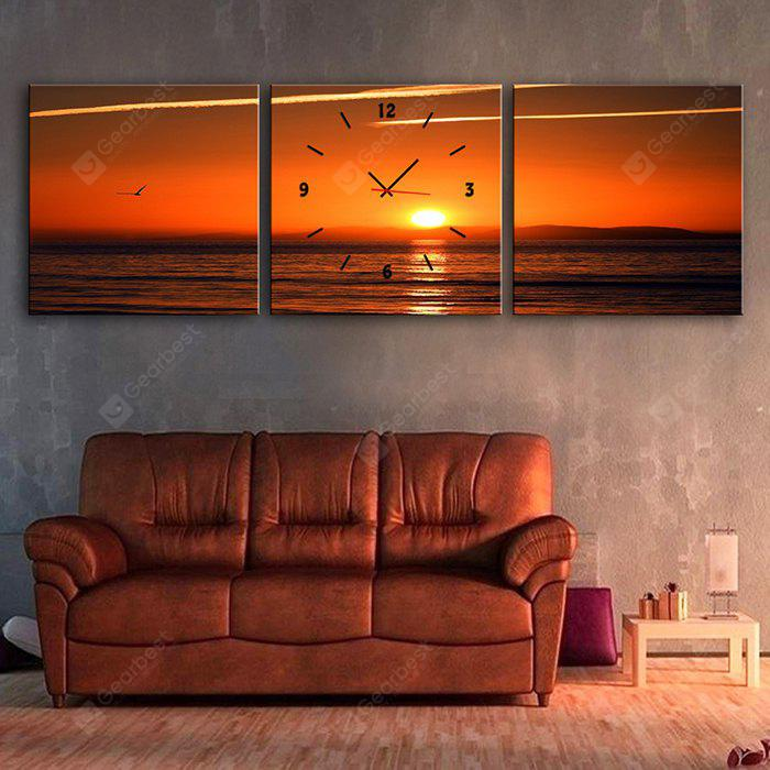 E - HOME Creative Wall Clock Sunset Glow Painting 3PCS