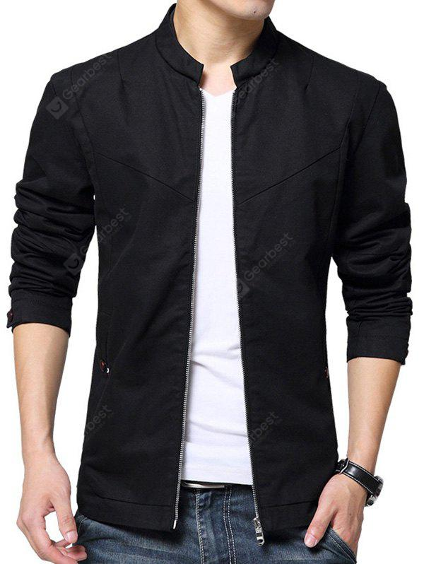 NIAN JEEP Male Casual Pure Color Stand-up Collar Jacket
