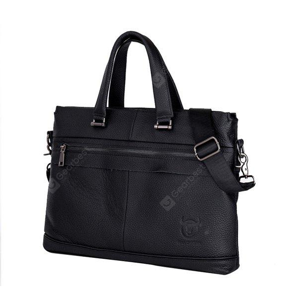 BULLCAPTAIN Business Multifunctional Leather Briefcase