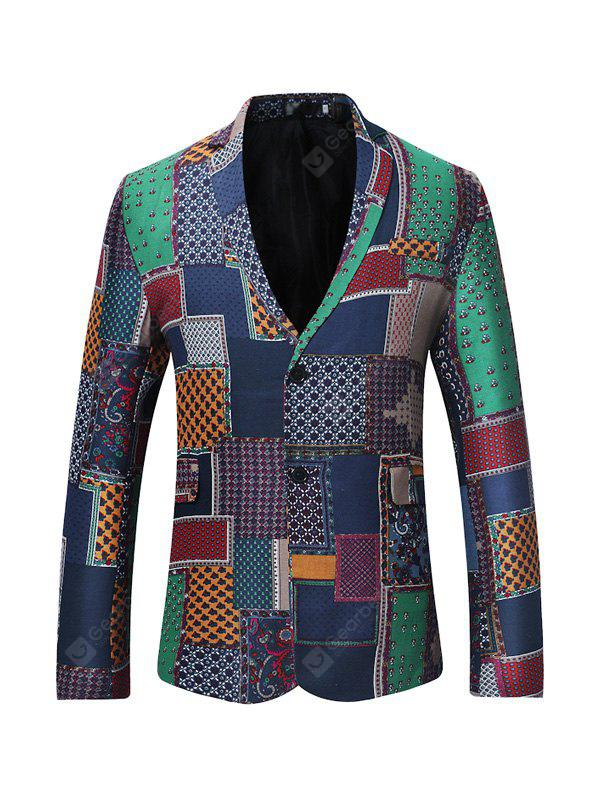 Male Exotic Slim Fit Casual Button up Spliced Blazer Jacket