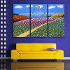 E - HOME Creative Wall Clock Canvas Flowers Painting 3PCS - COLORMIX