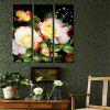 E - HOME Creative Wall Clock Canvas Flower Painting 3PCS - COLORMIX