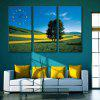 E - HOME Hillside Scenery Canvas Decor Mural Wall Clock 3PCS - COLORMIX