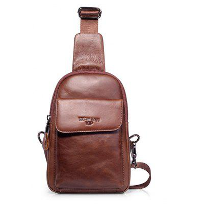 Buy BROWN YUANFANVIP Leisure Genuine Leather Chest Bag for $23.73 in GearBest store