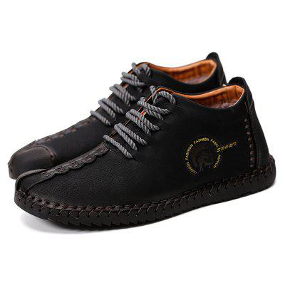 Men's Versatile Soft Warmest Stitching Casual Leather Shoes