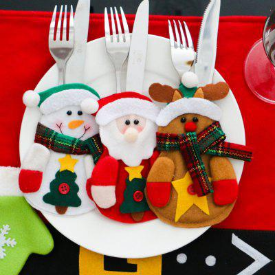 4pcs Santa Claus Snowman Elk Knife and Fork Storage Bag Christmas Decoration