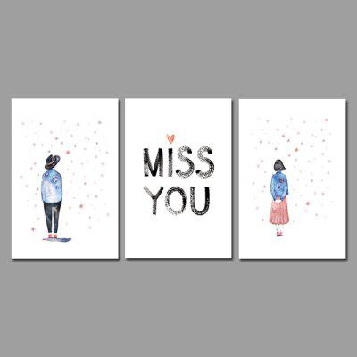 Miss Painting Stampe su tela Miss You Hanging Wall Art 3PCS