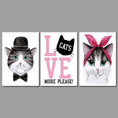 God Painting Hanging Prints Cartoon Cat Wall Art 3PCS