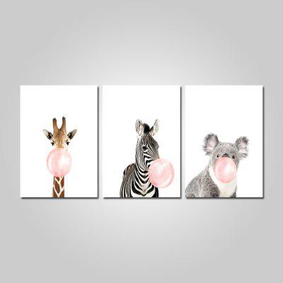 God Painting Nordic Style Cute Animals Stampa Decor Canvas 3PCS