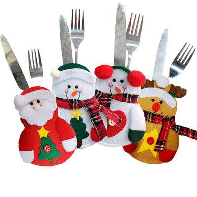Christmas Style Cutlery Cover Lovely Tableware Holder 4PCS