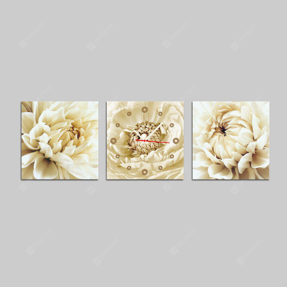 E - HOME Modern Flower Design Canvas Murale Orologio da parete 3PCS