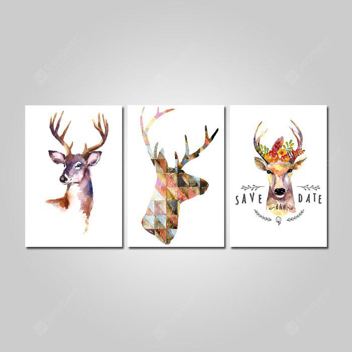God Painting Nordic Deer Stampa Frameless Canvas Decor 3PCS