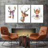 God Painting Nordic Deer Stampa Frameless Canvas Decor 3PCS - COLORI MISTI