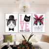 God Painting Hanging Prints Cartoon Cat Wall Art 3PCS - COLORI MISTI