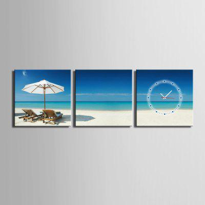 E - HOME Attraente Seascape Canvas Murale Orologio da parete 3PCS
