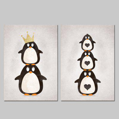 God Painting Canvas Prints Penguin Hanging Wall Art 2PCS