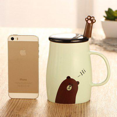 480ML Ceramic Cartoon Mug Cup with Cover Teaspoon