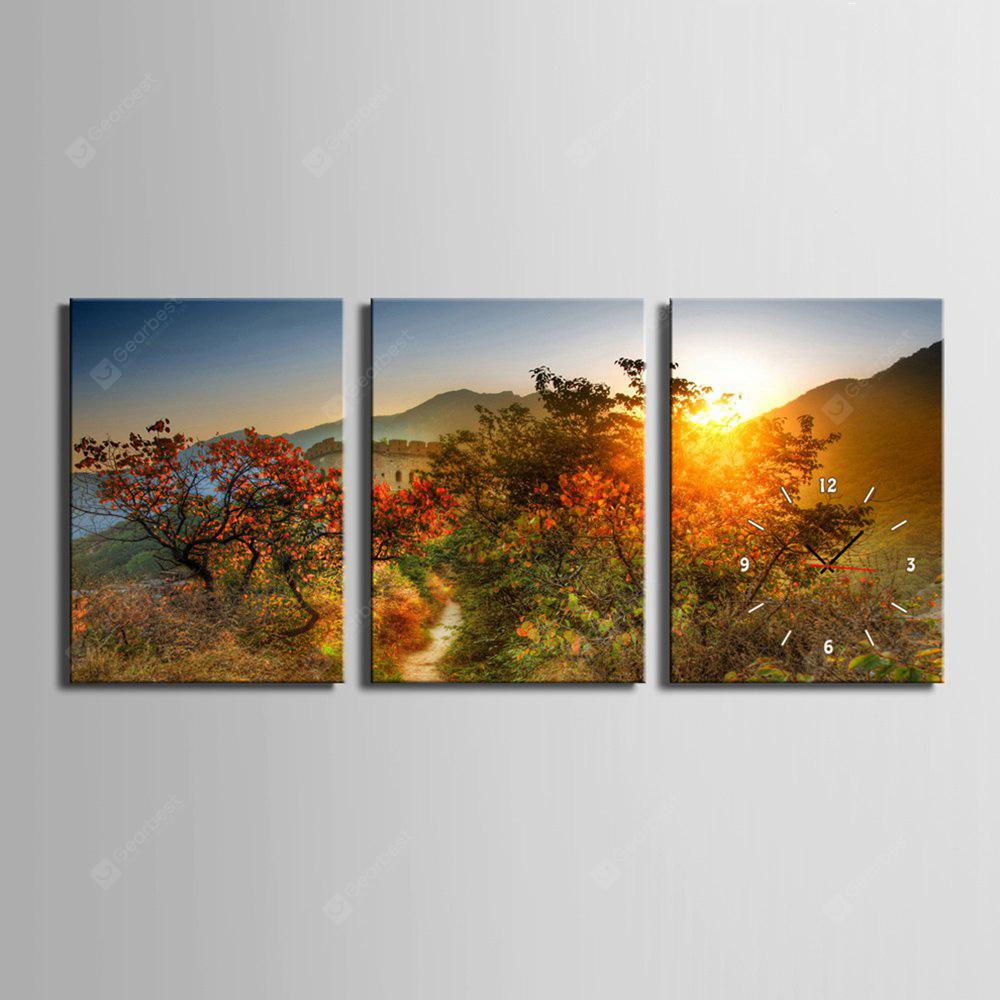 E - HOME Ruhige Landschaft Leinwand Decor Wanduhr 3PCS
