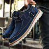 Male Soft Medium Top Thickened Retro Patent Leather Shoes - BLUE