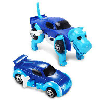 Novelty Clockwork Deformable Car Dog Kids Toy  -  BLUE