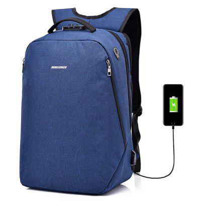 Buy BLUE Leisure Anti-theft Lock Laptop Backpack with USB Port for $22.99 in GearBest store