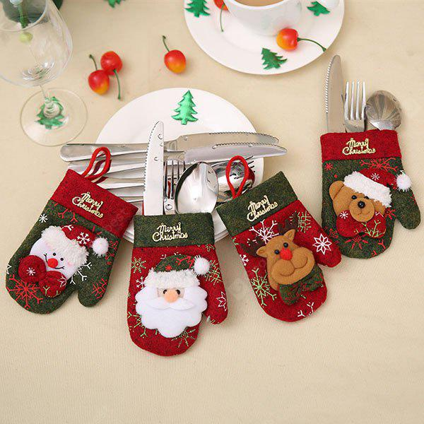 Christmas Joyous Decorative Gloves Type Tableware Cover 1pc