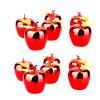 PVC Christmas Decor Apple Design Pendant 12PCS - RED