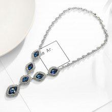 T400 7399 Artificial Crystal Women Sweater Necklace