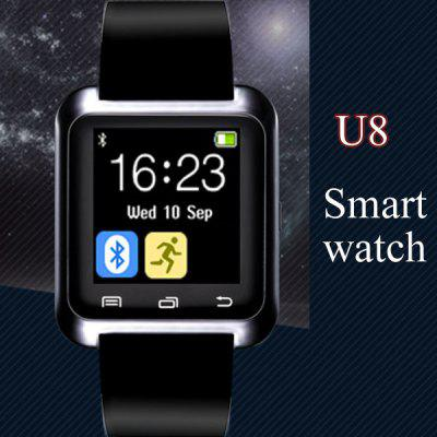 U8 Smart Bluetooth Watch Call Message ReminderSmart Watches<br>U8 Smart Bluetooth Watch Call Message Reminder<br><br>Anti-lost: Yes<br>Available Color: Black,Red,White<br>Band material: Rubber<br>Bluetooth calling: Call log sync,Phone call reminder,Phonebook<br>Bluetooth Version: Bluetooth 3.0<br>Case material: Plastic<br>Compatability: Android 3.0 and above system<br>Compatible OS: Android<br>Health tracker: Pedometer<br>Language: Czech,Dutch,English,French,German,Italian,Polish,Portuguese,Russian,Spanish,Turkish<br>Messaging: Message reminder<br>Other Functions: Alarm, Calender, Stopwatch, Calculator<br>Package Contents: 1 x Watch, 1 x Charging Cable, 1 x English Manual<br>Package size (L x W x H): 13.00 x 9.40 x 8.50 cm / 5.12 x 3.7 x 3.35 inches<br>Package weight: 0.1420 kg<br>People: Unisex watch<br>Power: Built-in rechargeable battery<br>Product size (L x W x H): 24.00 x 4.00 x 1.10 cm / 9.45 x 1.57 x 0.43 inches<br>Product weight: 0.0300 kg<br>Remote Control: Camera remote,Music remote<br>Screen: LED<br>Screen size: 1.44 inch<br>Shape of the dial: Rectangle<br>The dial diameter: 4.7 x 4.0 cm / 1.85 x 1.57 inches<br>The dial thickness: 1.1 cm / 0.43 inches