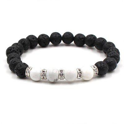 8mm Stylish Lava Stone Beads Unisex Bracelet