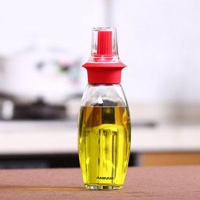 Heat Resistant Silicone Glass Oil Bottle with Brush Set