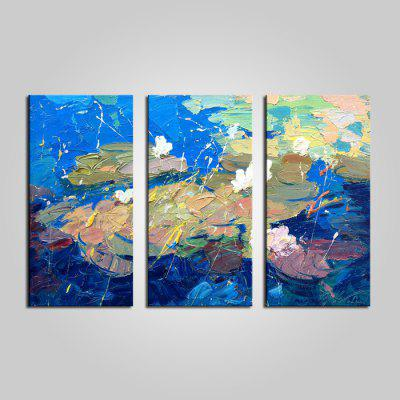 E - HOME Abstract Lotus Pond Framed Canvas Print 3PCS